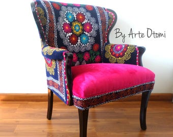 """Stunning Arm Chair LA VALENTINA Vintage chair wing back. Blue Pink.From our succesful """"La Bohemia"""" Series - Suzani Chair - Mandalas - Velvet"""