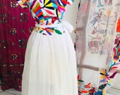 Wrap up Multicolor hand embroidery long Otomi Wedding dress Custom made embroidered bridal wear