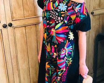 Multicolor Long Bohemian chic otomi dress Tunic Otomi Mexican wedding dress long dress Plus size dress multicolor hand