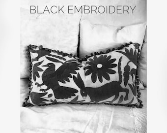 """Black embroidery Otomi Pillow sham - 14x26"""" - Hand embroidery"""