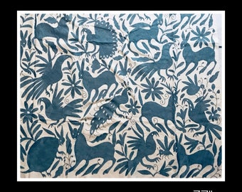 """Blue GRAY Otomi Wall decor - Wall hanging otomi - GRAY fabric 37""""W 29""""H -  Hand embroidery. Wood Frame sold separately"""