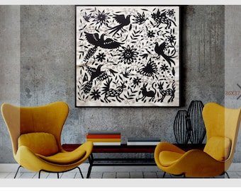 """Elegant Black and white Otomi Wall decor - Wall hanging otomi textile 36""""W 37""""H - Hand embroidered by Otomi . Wood Frame sold separately"""