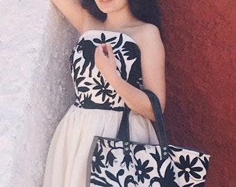 "Otomi Black and White Dress - Special Order - ""Maria Bonita"" - Purse sold separately"