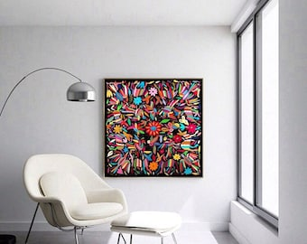 """LA BELLA FLOR (The beautiful Flower) Otomi textile Black and multicolor 39"""" W 40"""" H. Hand embroidery - Frame sold separately"""