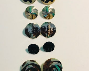 Vintage Button Style Pierced Earrings Gold and Black Lot