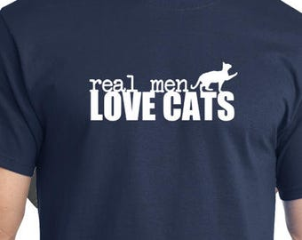 Real Men Love Cats Mens Tshirt gift funny humor cat shirts his