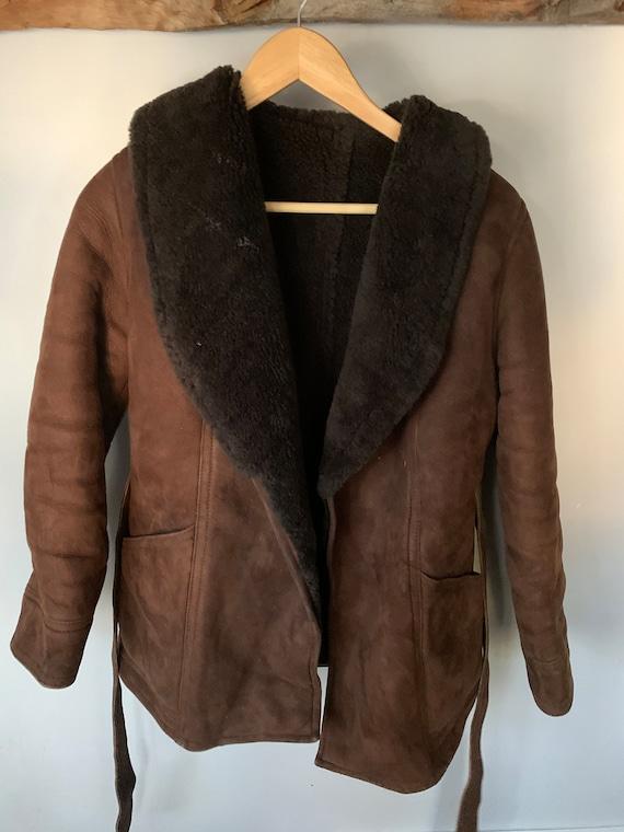 Brown shearling coat medium