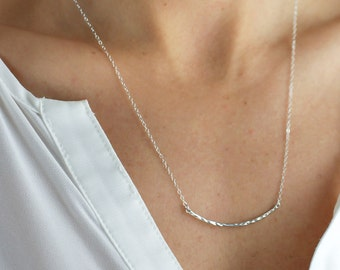 Crescendo Hammered Curve Necklace - minimal simple casual layering necklace in sterling silver or 14k gold fill