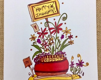 Happy Thoughts Flower Note Card