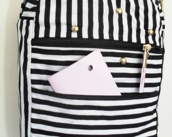 black and white striped cotton fabric bag