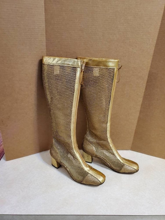 WOW - Vintage 1970's Gold Mesh GoGo Boots