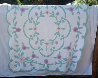 1950's 100% Cotton Hand Stitched & Quilted Peony Appliqued Quilt