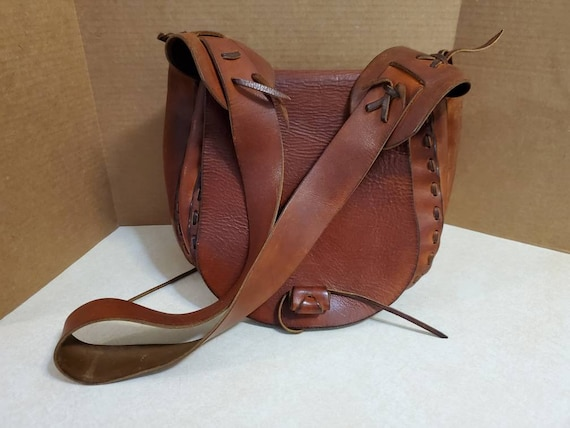 1970's Retro Handcrafted Leather Boho Purse