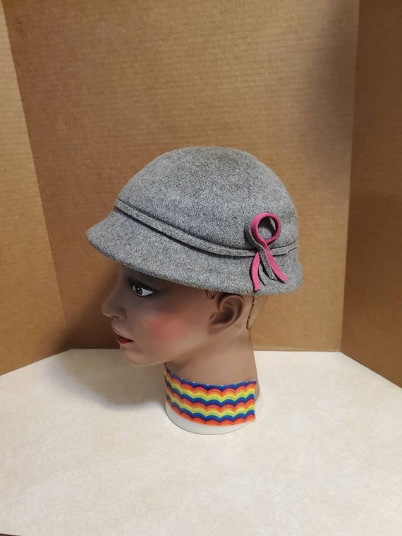 1930's Glenover Gray with Pink Bow Wool Hat Henry