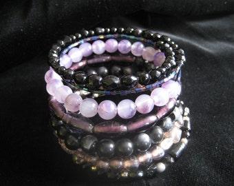 Black & Purple Beaded Bangle
