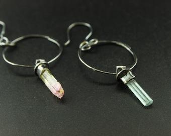 Tourmaline Spear Dangle Hoop Earrings