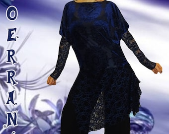 Unstructured asymmetric tunic, stretch top, long tunic lace ' Midnight blue.  '