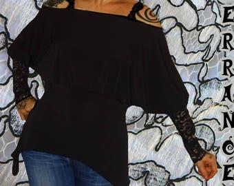 Asymmetrical tunic in 'Black' stretch mesh...