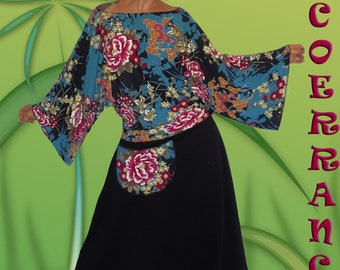Set Top and harem pants in stretch mesh, ' Asian 'Flowers..'