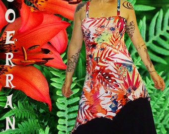 asymmetric tunic with straps 'Tropical' flowers...'