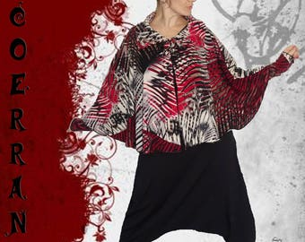Poncho, cape 'Red touch...' and its sleeves