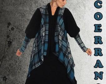 Asymmetrical jacket, boho ....' Scottish Blue '