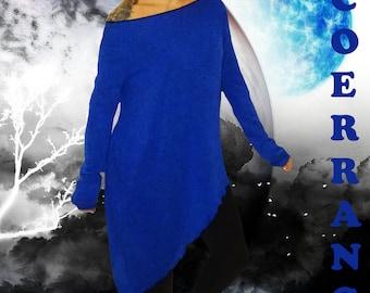 Oversized stretch knit sweater, ethnic tunic sweater, boho tunic sweater, boho 'Blue King...'