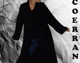 Long asymmetrical fall winter jacket, long waistcoat, 'Softy Black ...'