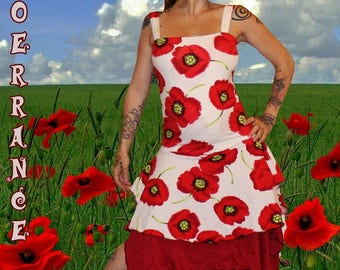 Asymmetric dress with straps 'Pretty poppy'...