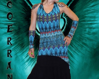 Tunic asymmetrical backless Halter tunic, stretch tunic 'Blue Space' and its sleeves