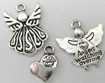 Jewelry Supplies ~ Angels  Heart  3 pcs  Charms  Pendants  Tibetan Silver  (T-3)