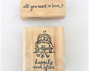 Supplies ~ Rubber Stamp  Wedding   2 stamps   'All you need is love '   'Happily ever after'    Just married car   SU!  Hampton Art