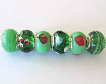 Jewelry Supplies ~  Glass Lampwork   Set/6  Spacer Beads    14x10mm   'With Luck & Love'