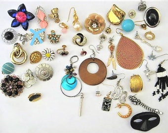 Jewelry Supplies ~ 46 pc  Single Earring Lot   Destash   Craft / Jewelry making lot / Repurpose