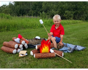 Handmade Felt Campfire Set Smore And Marshmallow Kit Flame