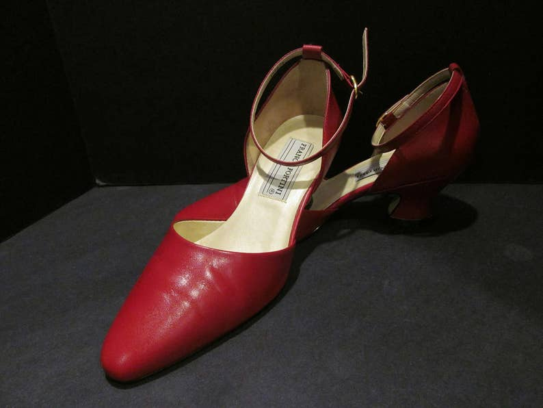 9045c5a5b246e Vintage Franco Fortini Red Leather Heels Ankle-Straps - Get Noticed!