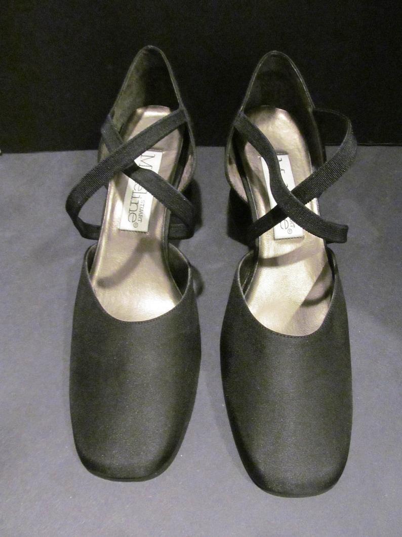 92a63d0875b47 Vintage Pair Heels - Circa 1980's - New/Dead Stock - Black X-Straps By