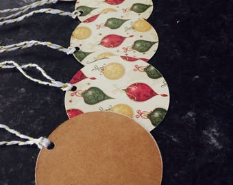 Christmas Ornament Tags with Bakers Twine - Christmas Tags Handmade - Tag Set -  Present Tags- Xmas Tags, Hand Made Tags- Personal Touch