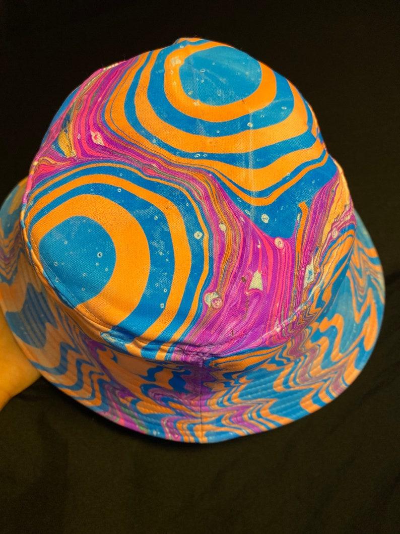 Blue and Orange Portals Marbled Trippy Bucket Hat