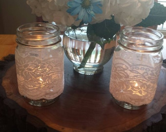 White Lace Mason Jar Covers/Sleeves