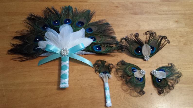 Beautiful Handmade Peacock Bouquet Set