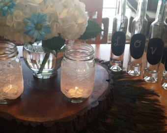 White Lace Mason Jar Covers/Sleeves 2.5' wide
