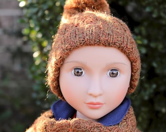 """Hand knit Hat and Scarf set for 16"""" A Girl for All Time  doll"""