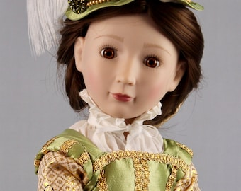 """Elizabethan gown ensemble for 16"""" A Girl for All Time  doll"""