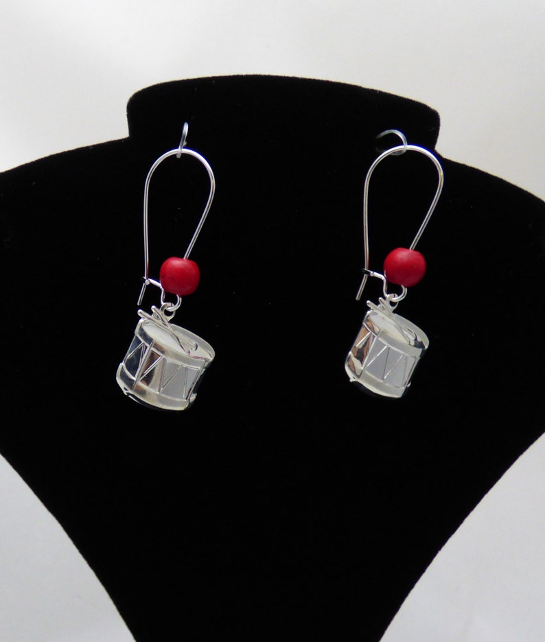 Custom Jewelry Gift for Musician Drums Gift for Drummer Custom Handmade Drum Earrings with Color Accent Bead