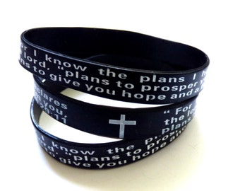Jeremiah 29:11 Christian Bible Verse Silicone Bracelet / Scripture Wristband with Cross -