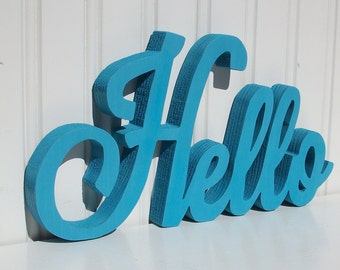 """HELLO Wood Word Sign - Handmade Wood Sign, Painted """"Hello"""" sign - Made to Order"""