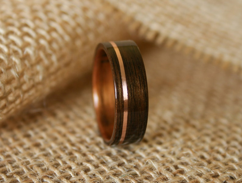 Wood Wedding Bands.Men S Wooden Wedding Band With 14k Rose Gold Inlay In Macassar Ebony Wood With Koa Wood Lining Hand Crafted Wooden Ring