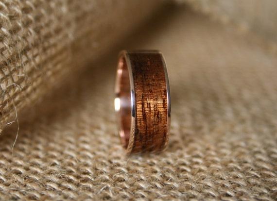 Men S Wedding Band 14k Rose Gold Ring With Hawaiian Koa Etsy