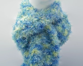 Blue, green and yellow long scarf knitted soft bristle hand